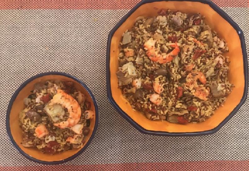Mix di Cereali e Quinoa con gamberoni e carciofi